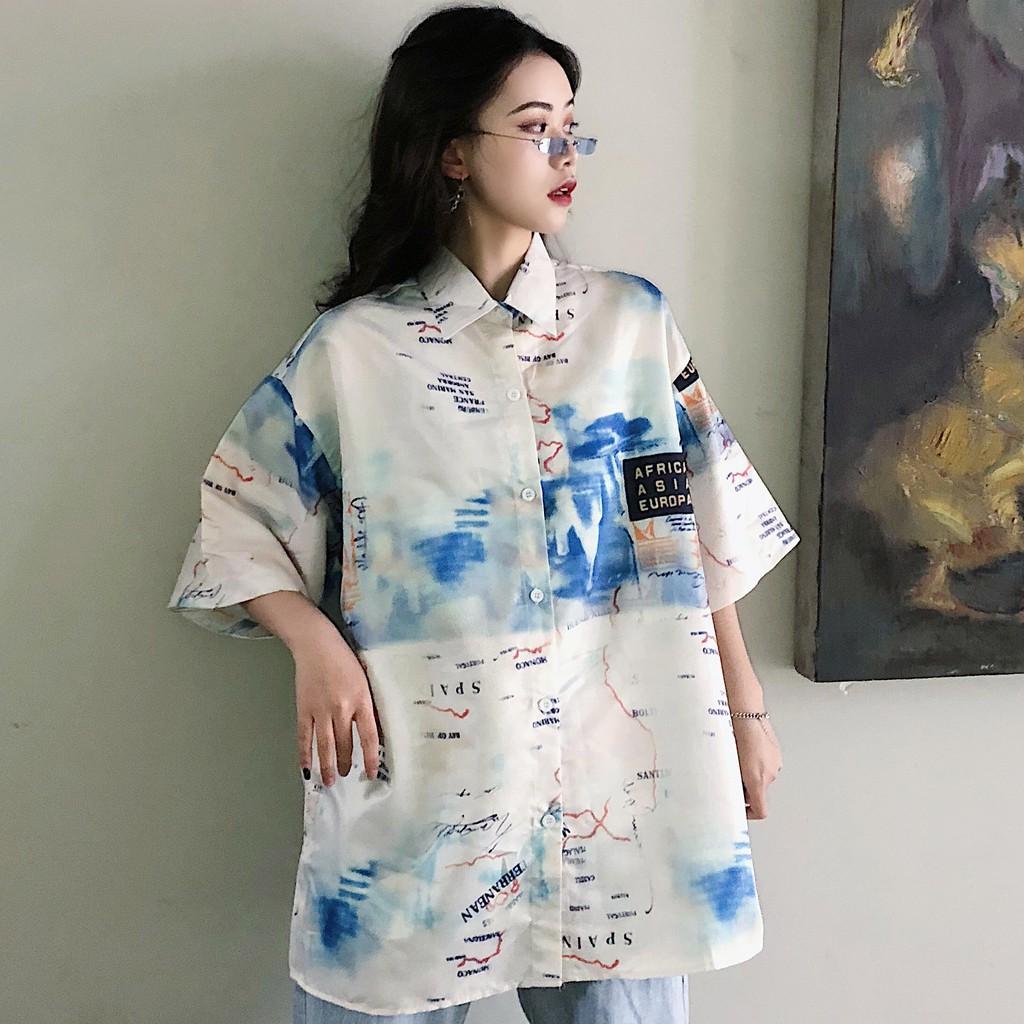 Áo Sơ Mi Polo Nữ Họa Tiết Graffiti Phong Cách Hàn Quốc