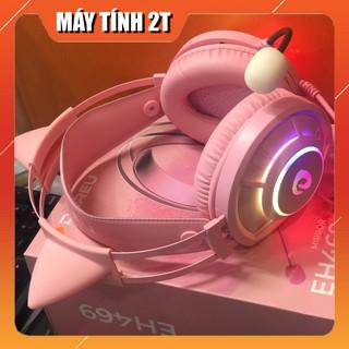 Tai Nghe Mèo Màu Hồng DAREU EH469 – Gaming 7.1 LED RGB Màu Pink Chính Hãng -Máy Tính 2T