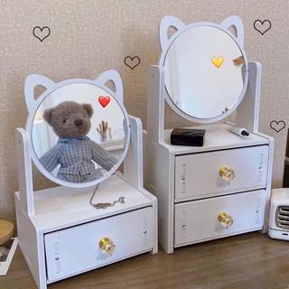 Kệ 2 ngăn đựng mỹ phẩm, tủ đựng mini kèm gương tai gấu