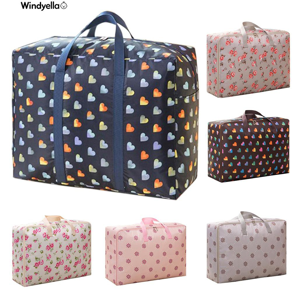 Nice>Heart Flower Print Clothes Quilts Storage Bag Moisture-proof Folding