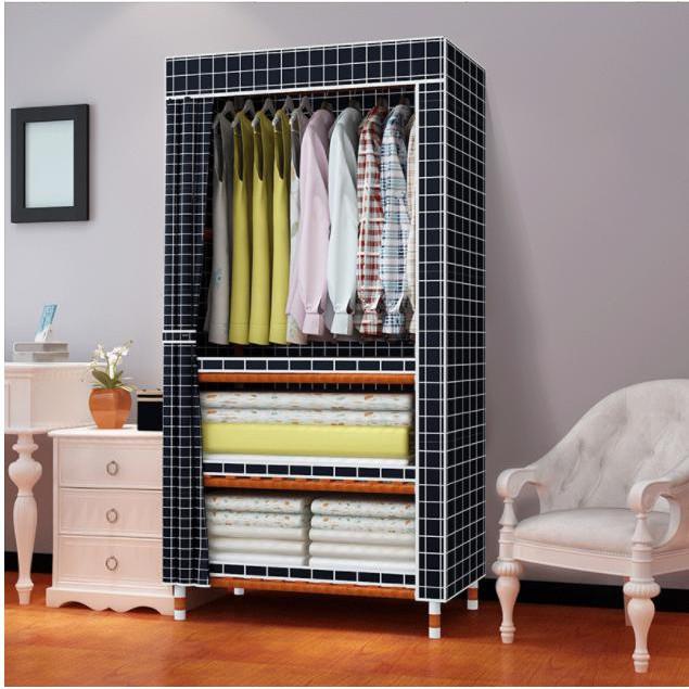 Kệ tủ vải tủ đựng quần áo phụ kiện tủ vải bán kèm thanh gỗ chốt nhựa áo vải