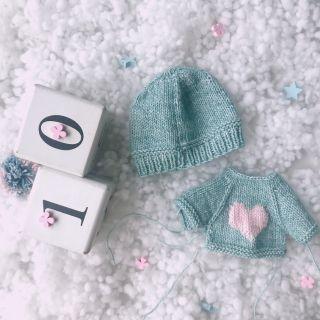 Combo nón beanie & áo len