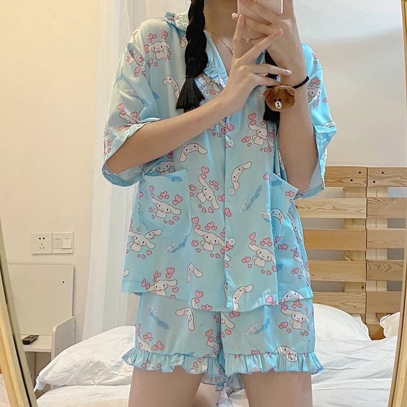 Set đồ ngủ Pyjama Cinnamoroll cổ nhún Hàn Quốc