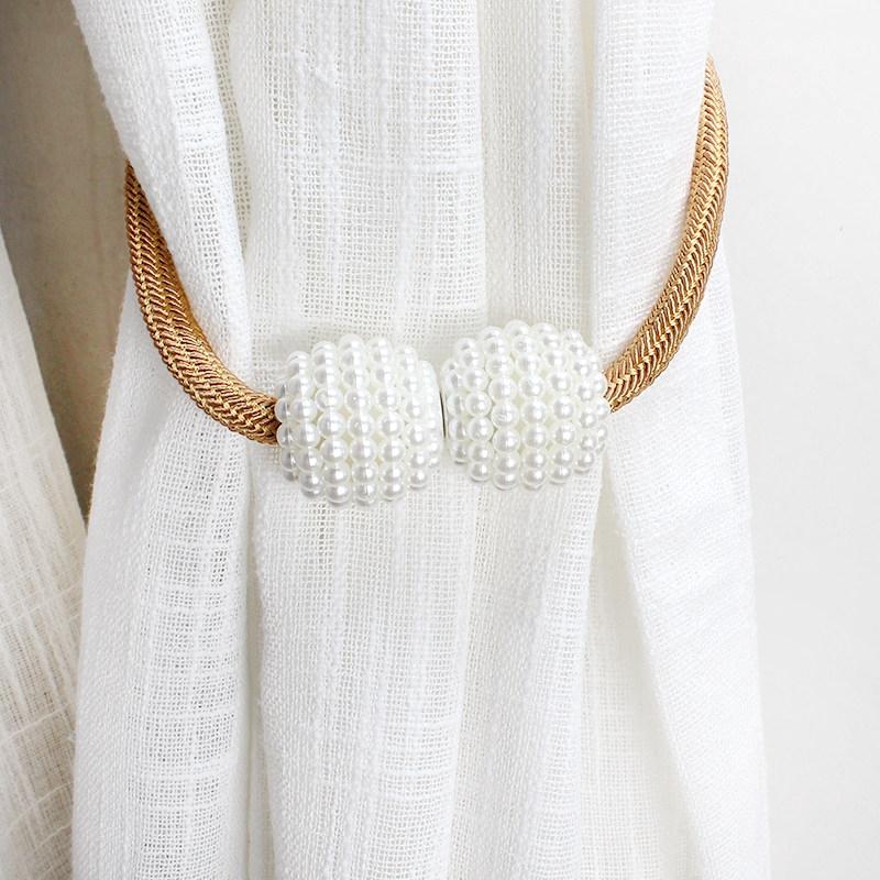 Dây buộc rèm cửa có nam châm trang điểm hạt ngọc trai phong cách đơn giản hiện đại