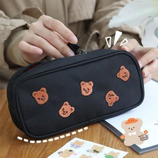 Hộp Bút Vải Bóp Viết Đính Hình Gấu Nâu Đơn Giản Tiện Dụng Ulzzang Hotstyle Style