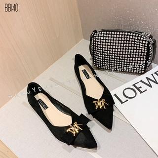 Bệt nữ HHS nỉ khoá chữ D vàng Hà Huyền Shoes - BB140