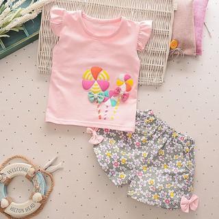 Bộ áo thun sát nách + quần hoa cho bé gái