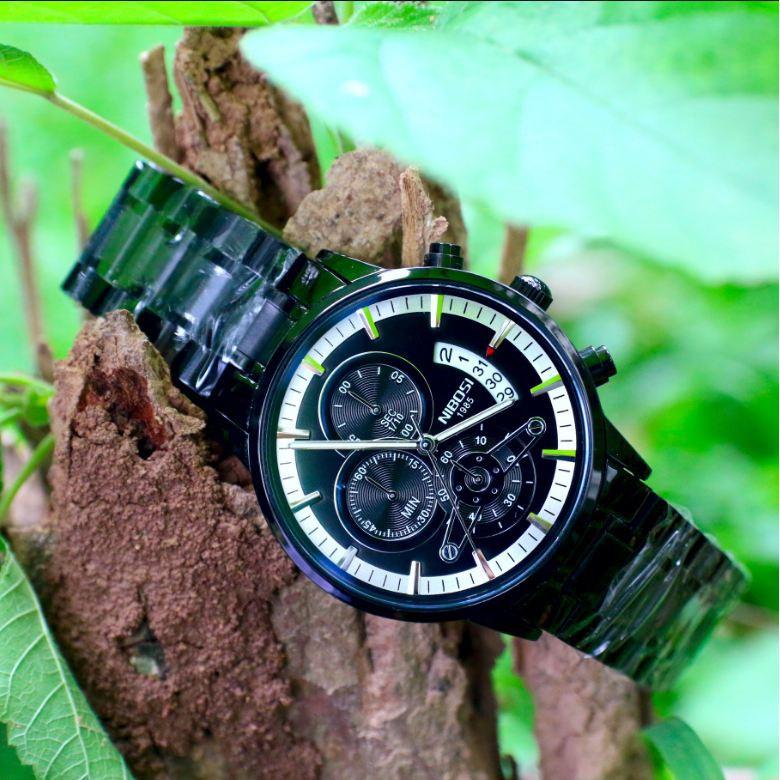 Đồng hồ nam NIBOSI 42mm dây thép fullbox , chạy 6 kim dạ quang có lịch ngày BH 12 tháng - NIBI19 FD