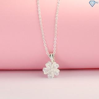 Dây chuyền nữ bạc 925, vòng cổ bạc nữ hình bông hoa đính đá DCN0420 - Trang Sức TNJ