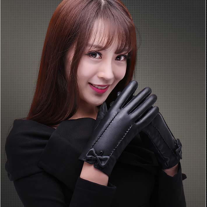 Găng tay da nữ giữ ấm mùa đông thiết kế thời trang hiện đại cao cấp chống nước chống bong tróc