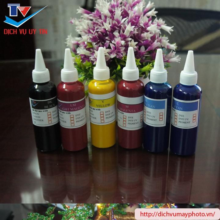 Mực in pigment không bay không phai cho máy in phun 6 màu Epson L805 L800 T60 1390 1430 L1800