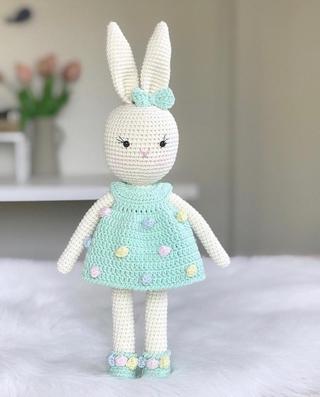 Thú bông handmade ♥️ LEN CAO CẤP ♥️ Thỏ mặc váy đốm, Quà tặng thú bông