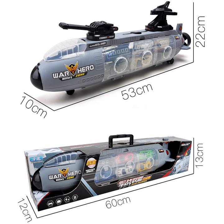 Tàu ngầm chiến đấu chứa 6 mẫu xe tăng, máy bay quân sự, đồ chơi mô hình cho bé lứa...