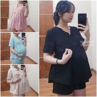 Áo bầu & sau sinh có khoá cho con ti - 4 màu thời trang vải đũi mềm mát lên dáng đẹp, có dây điều chỉnh độ rộng thumbnail