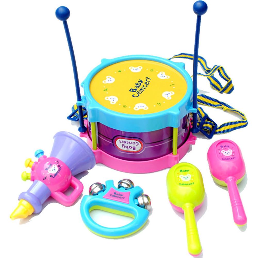 Boys Girls 5pcs Plastic Trumpet Cabasas Hand bell Roll Drum Band Kit Kids Children Noise Maker Toy Gift Set