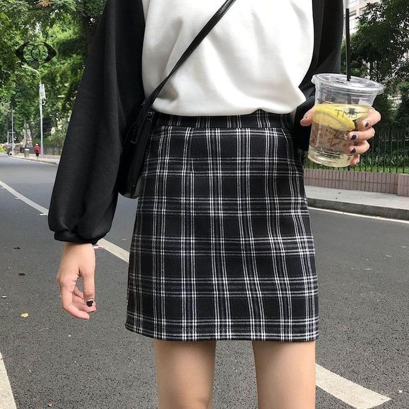 [Nhập WACB22 - giảm 35K đơn 120K] Chân váy chữ A mỏng lưng cao sọc ca rô thời trang xinh xắn