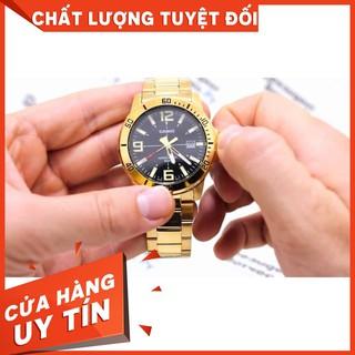 HOT Đồng Hồ Nam Casio MTP-VD01G-1BVUDF Dây Kim Loại Mạ Vàng - Nền Mặt Màu Đen - Kim Dạ Quang Chính hãng
