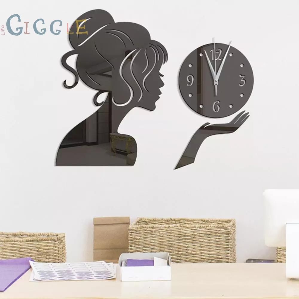 Sticker Dán Tường Chống Thấm Nước Với Họa Tiết Hình Cô Gái Màu Gương Dùng Trang Trí Phòng Khách