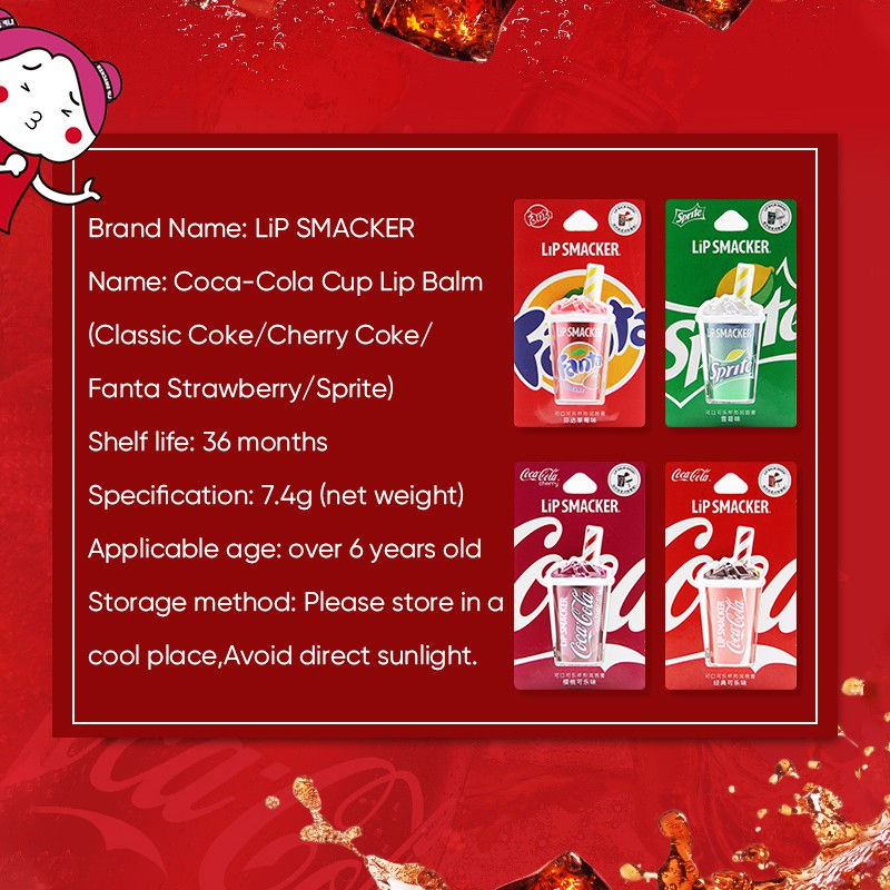 Son dưỡng môi BAIMISS giúp giảm nếp nhăn hình ly coca xinh xắn 7.4g