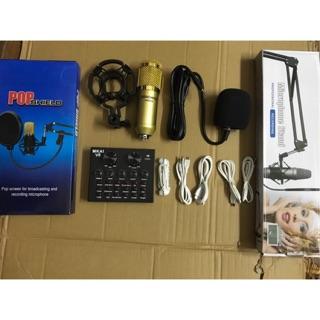 [Freeship toàn quốc từ 50k] Combo Mic Thu Âm Bm-900 Sound Card V8 - 6 Món ( đầy đủ )