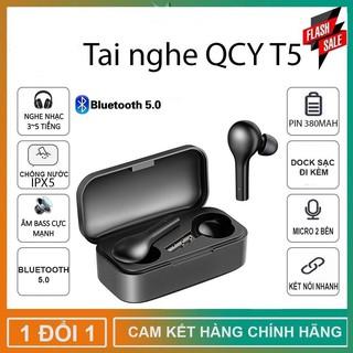 Tai Nghe Không Dây Bluetooth 5.0 True Wireless QCY-T5 - Dock Sạc 380mAH - Cảm Ứng - Đàm Thoại - Chống Ồn - Chống Nước