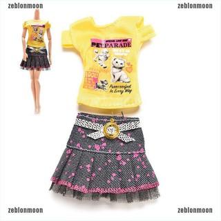 moon.vn Set chân váy và áo thun xinh xắn cho búp bê Barbie ☀$