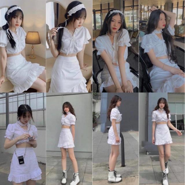 Set Đồ MinTo Set gồm áo croptop ôm body có chun rút kéo và chân váy lưng thun co giãn có lớp lót tặng kèm chocker đeo cổ