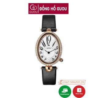 Đồng hồ nữ Guou 6040 chính hãng chống nước hình giọt nước viền đá dây da không kim giây độc đáo thumbnail