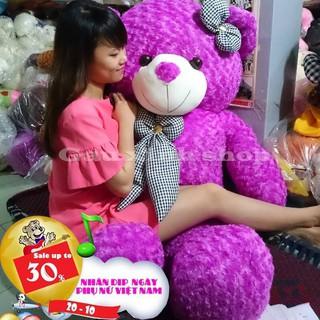 Gấu bông Teddy Cao Cấp khổ vải 1,4m Cao 1,2m màu tím hàng VNXK