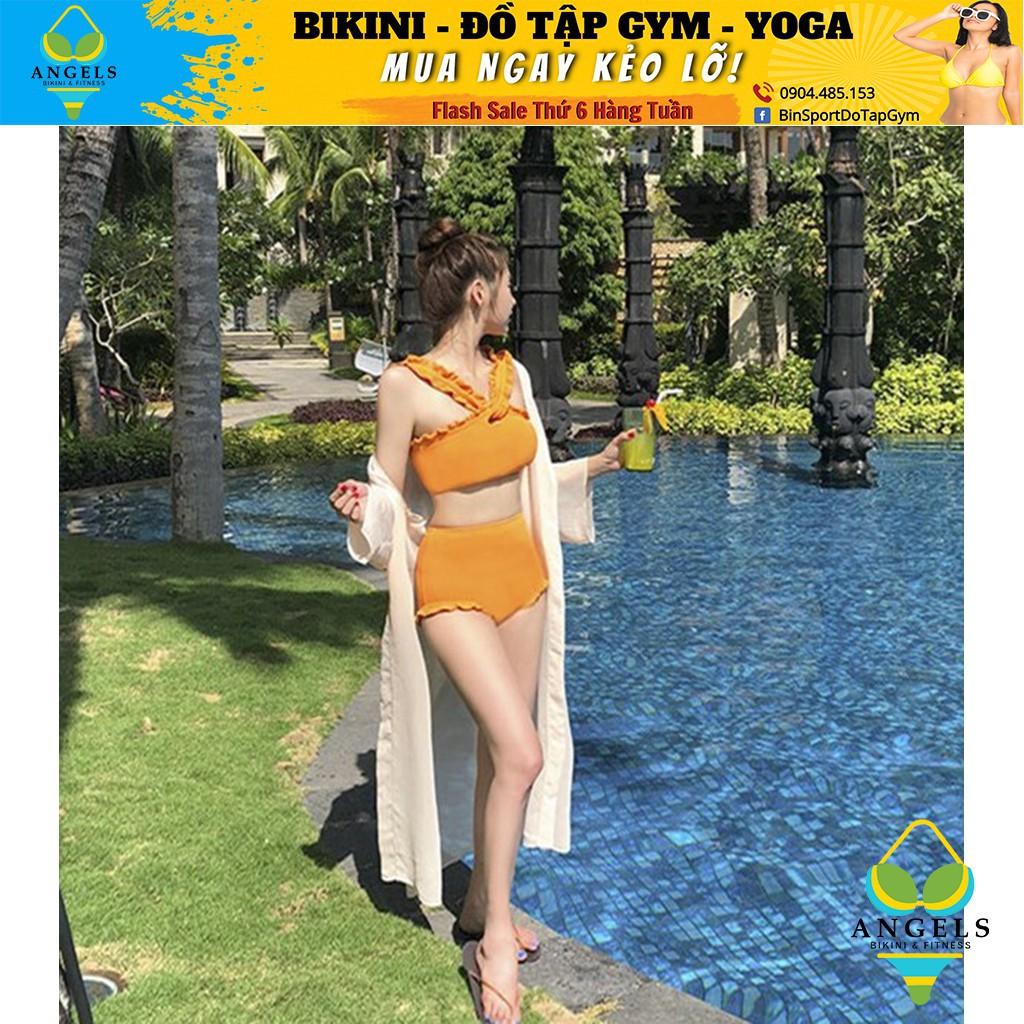 Bikini,Bộ Đồ Bơi Cổ Chéo Màu Vàng, Hàng Nhập Đủ Size M L XL,BHN015 [ Giá Sỉ ]