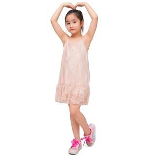 Váy hai dây bé gái Narsis KB0011 màu nude phối ren