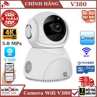 Camera wifi 5.0Mpx V380Pro Q8 Chính Hãng Xoay 360° – Nhận Diện Khuôn Mặt – Xoay theo chuyển động – bảo hành chính hãng