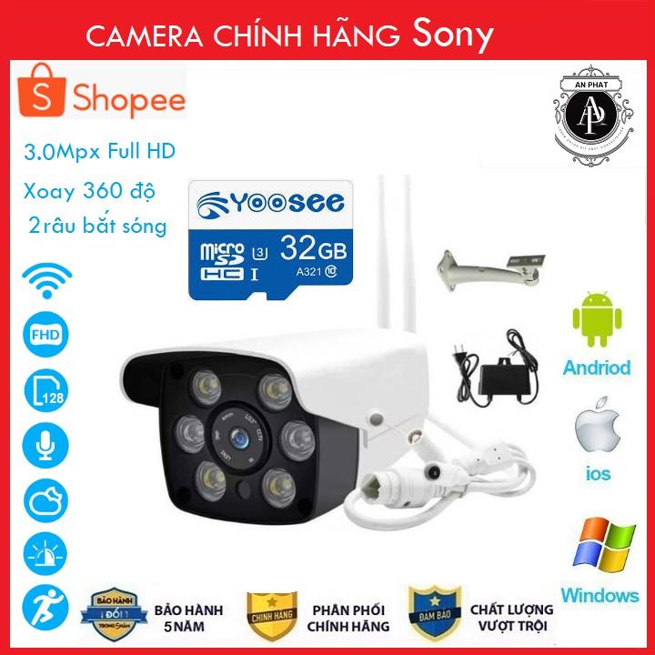 Camera IP YooSee Ngoài Trời 3.0Mpx Full HD 2021 Tiếng Việt Và Thẻ Nhớ 32Gb Yoosee Chuyên Dụng ( BẢO HÀNH 5 NĂM) 2RAU6LED