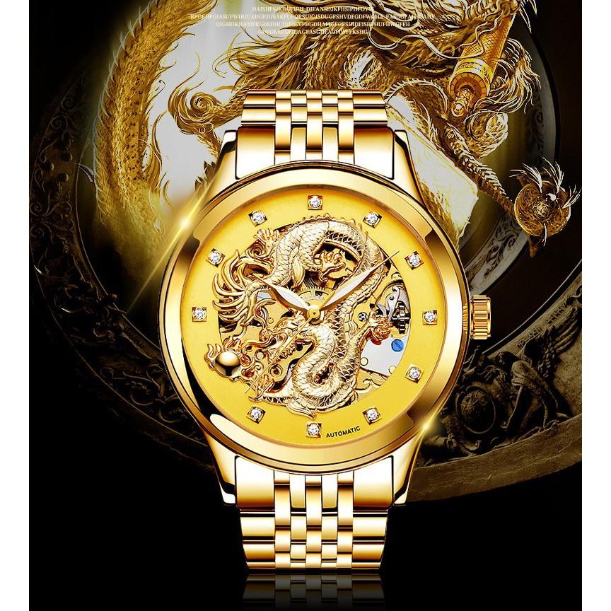 Đồng hồ cơ tự động lộ máy cao cấp rồng vàng cho doanh nhân hiệu Nary