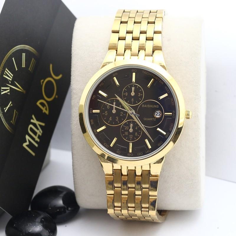 Đồng hồ nam nữ Baishuns vàng kim mặt đen