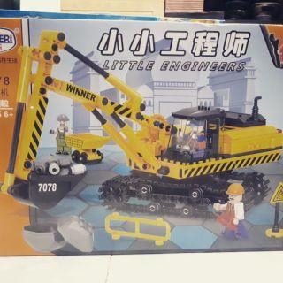 đồ chơi lắp ghép Lego winner 7078 xe xúc công trình bánh xích có núm xoay điều khiển tay xúc cổ quay máy động cơ