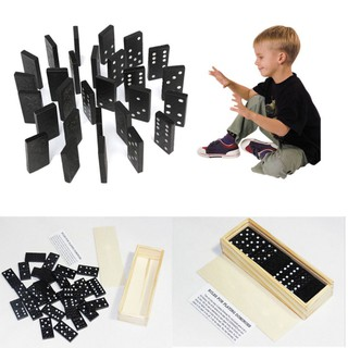 28Pcs Dominoes Set for Kids with Wooden Box Classic Black Domino Game Toys