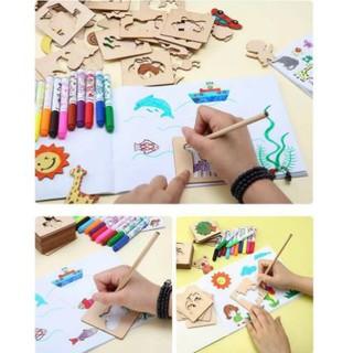 [shophuyenbi.com]Bộ khuôn vẽ hình cho bé bằng gỗ