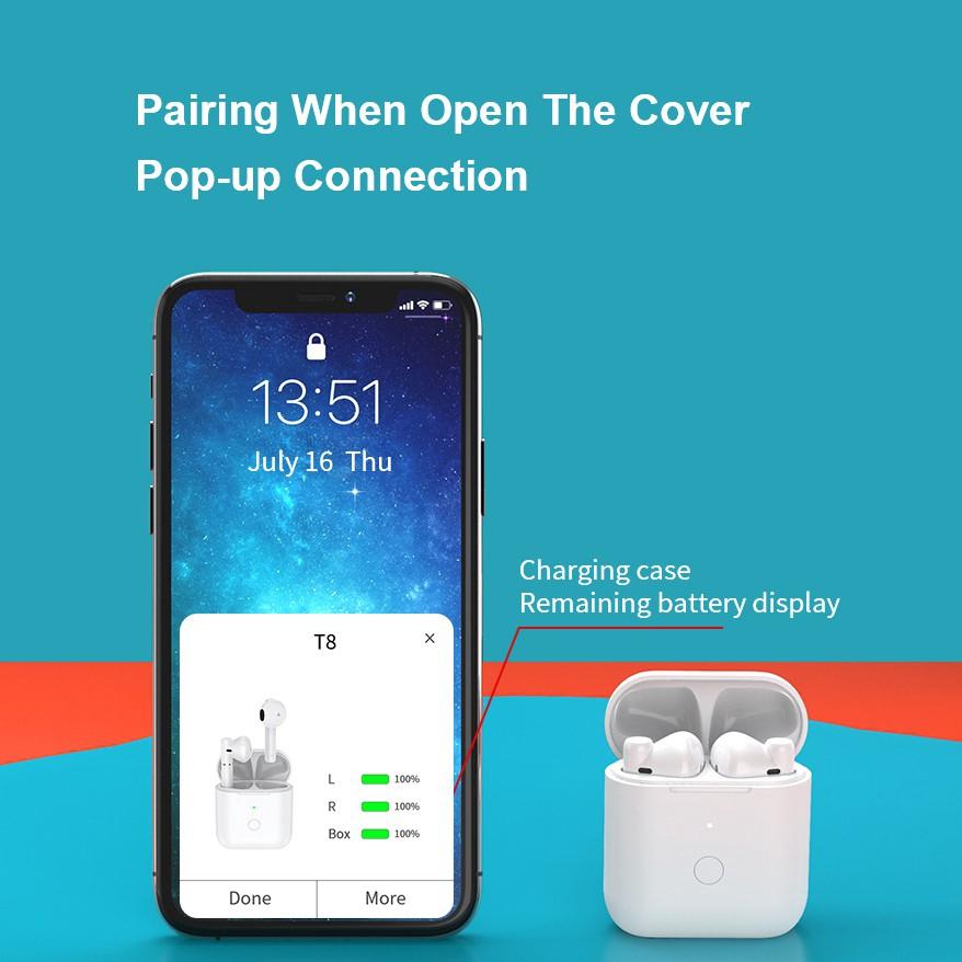 Tai nghe nhét tai không dây QCY T8 TWS kết nối Bluetooth chống ồn ENC chất lượng cao cho Android iPhone
