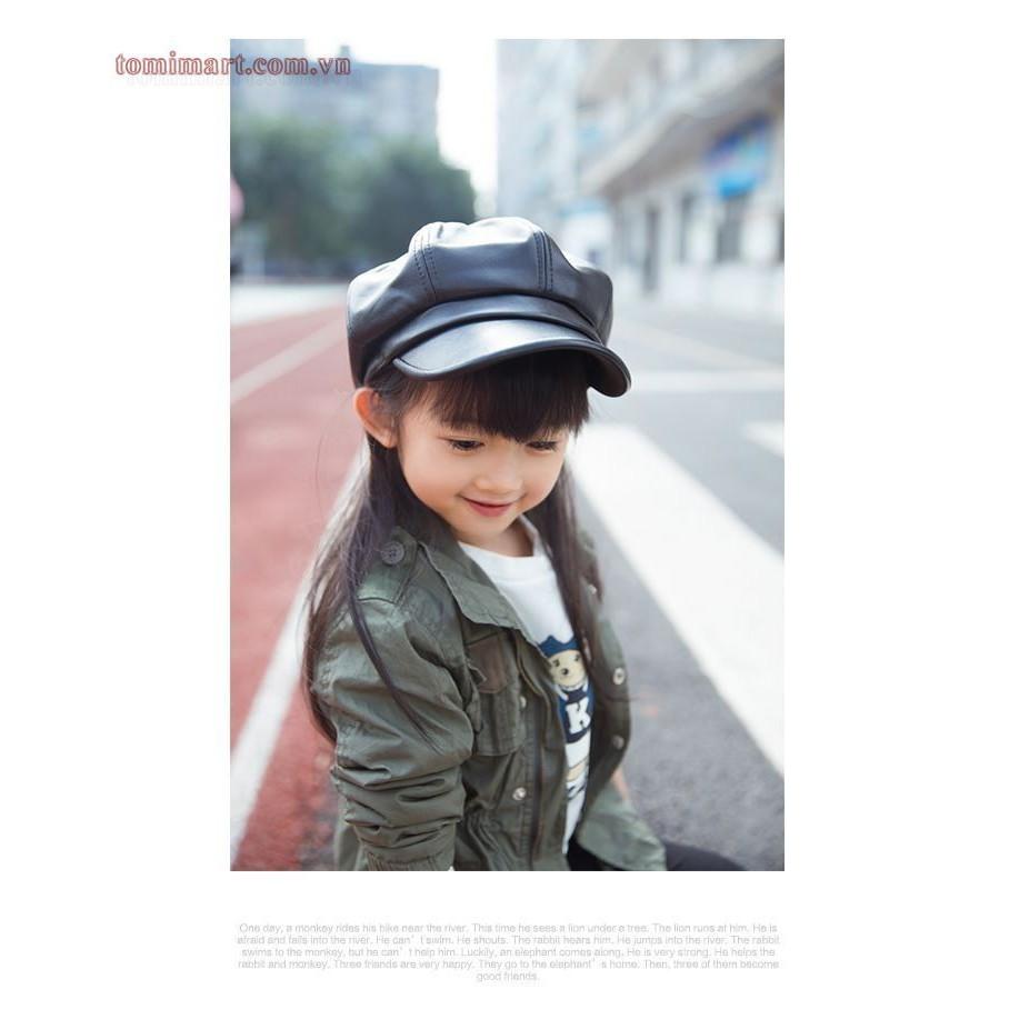 Mũ da phong cách Hàn Quốc cho bé gái