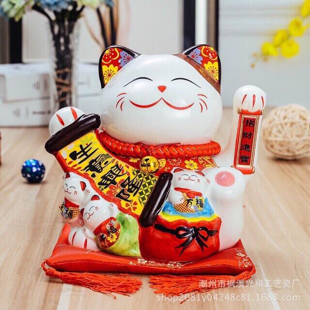 Mèo thần tài, mèo may mắn 20cm (8 mẫu) Thiên khách vạn lai vẫy tay kèm đệm và sạc