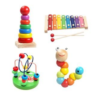Combo sét 4 món đồ chơi – luồn hạt – con sâu gỗ – đàn gỗ 8 thanh – cầu vồng – giúp bé phát triển thông minh