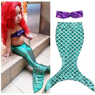 Bộ̣ bikini áo phối nơ + chân váy hóa trang nàng tiên cá dễ thương cho bé gái