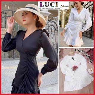 ĐẦM dự tiệc dáng suông đẹp cao cấp, phần vai và lai váy bèo nhúng xinh yêu, có 2 màu trắng đen giá rẻ tại LUCI – VD 012