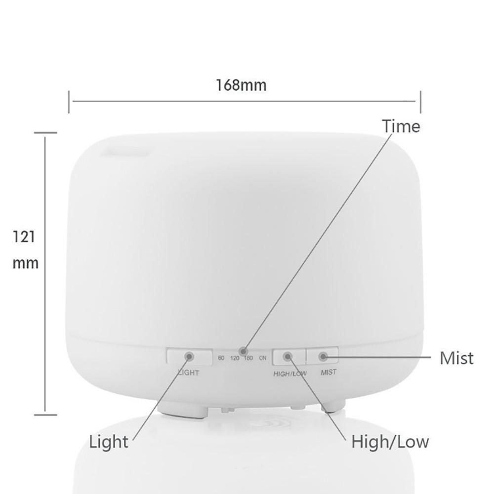 Máy phun sương khuếch tán tinh dầu trụ tròn lớn 500ml có remote kèm 2 chai tinh dầu 10ml sả chanh và bạc hà