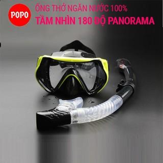 Mặt nạ lặn Ống thở POPO 1526 kính lặn mắt kính cường lực ống thở với vạn 1 chiều ngăn nước cao cấp