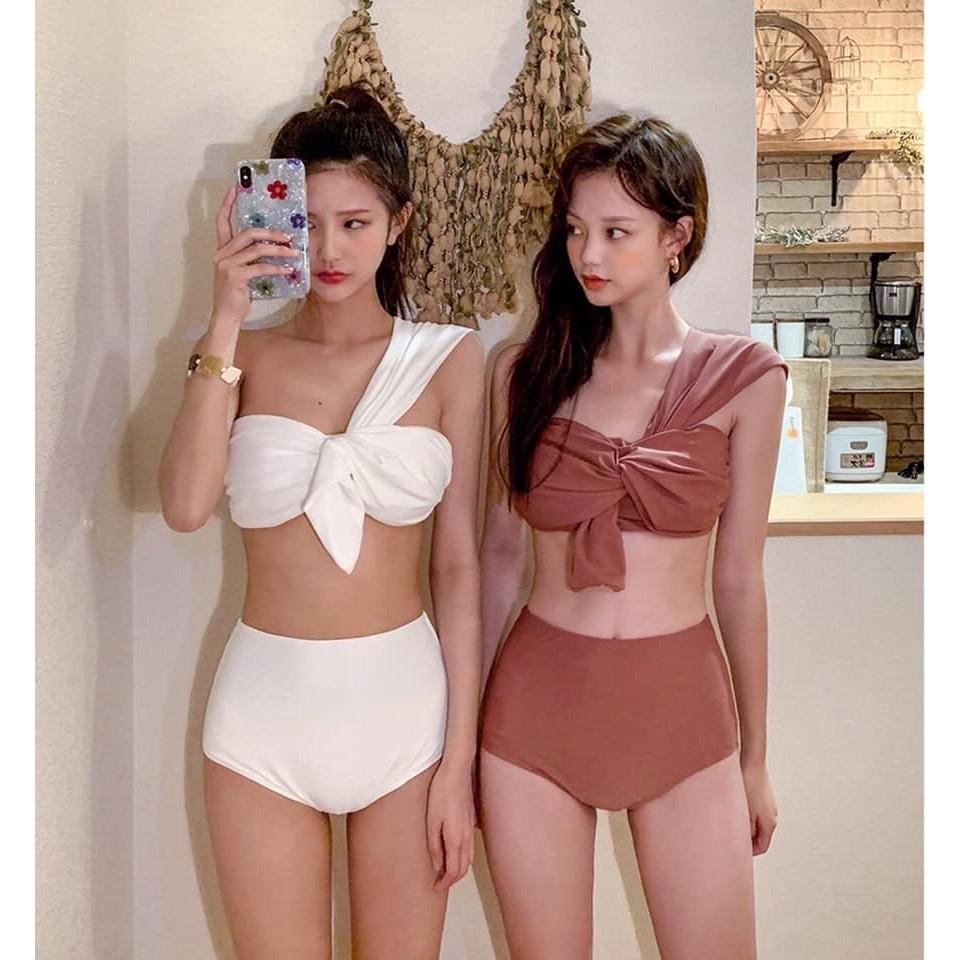 Bikini Áo tắm 2 mảnh nơ chéo vai lệch vai các màu nâng ngực (ảnh thật)