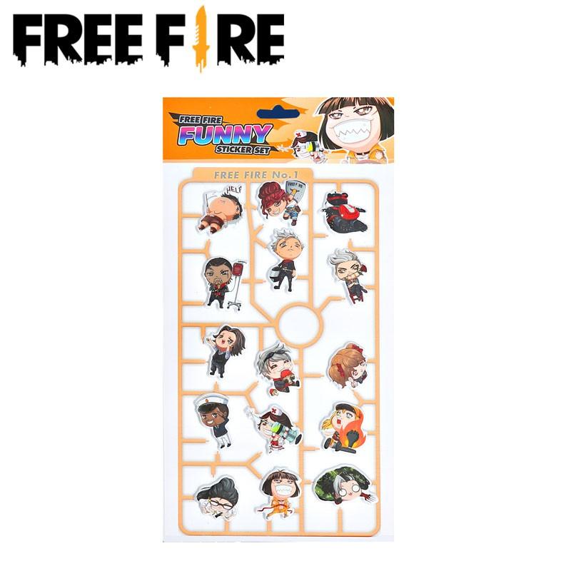 Set nhãn dán họa tiết 15 nhân vật trong game Free Fire đáng yêu độc đáo