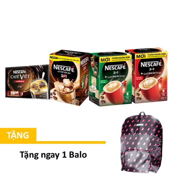 [Tặng balo] Combo 4 hộp NESCAFÉ : Đen Đá (15x16g) + Sữa Đá (10x20g) + Rang Xay Hòa Tan Đậm Đà và Đậm Vị (20x17g)