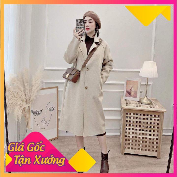 [Mã WAJAN27 hoàn 15% xu đơn 300k] Áo khoác dạ dáng dài siêu cá tính chất dạ ép quảng châu cao cấp siêu dầy đẹp